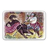 Kinhevao Japanische Gummirücken rutschfeste Fußmatten, tapferer Samurai mit Seiner Lanze im Kampf gegen den schwarzen Dämonenwolf Wild Battle Theme Fußmatte Fußmatten Teppiche Badematte