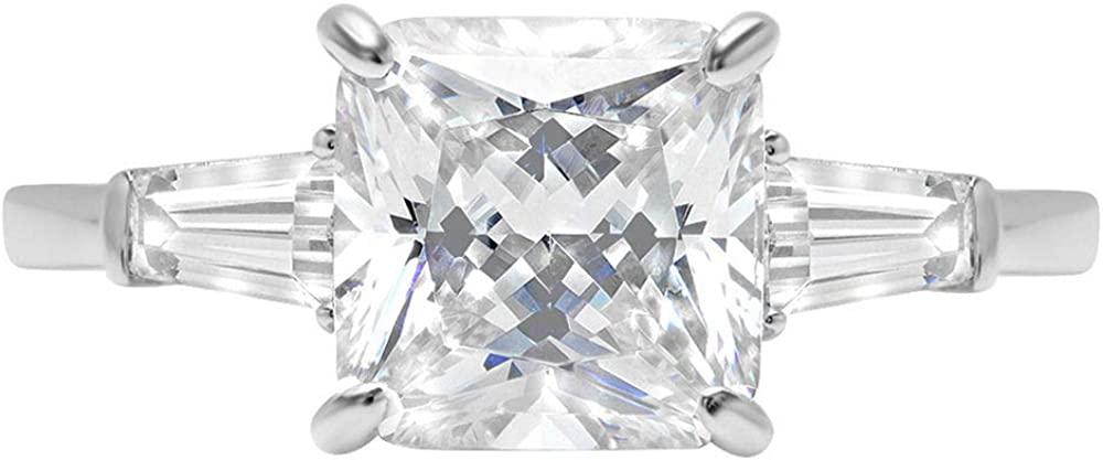 3.5 ct Brilliant Asscher Cut Stunning Genuine Flawless Clear Simulated Diamond Wedding Bridal Anniversary Promise Engagement Solid 18K White Gold Classic Three Stone Ring