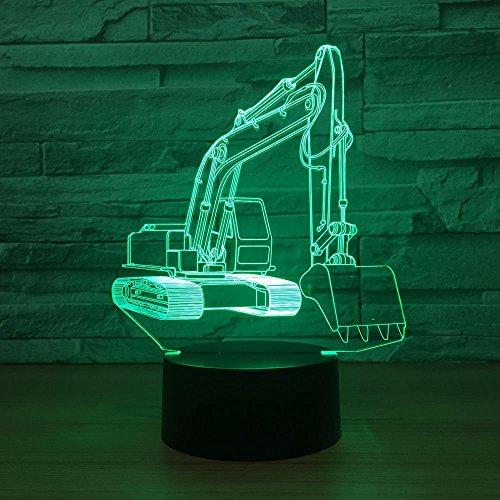 DFDLNL 3D Excavator Night Light Led USB Acylic Escritorio Lámpara de Mesa 7 Cambio de Color para bebé Niños Dormitorio Decoración Lámpara de Humor