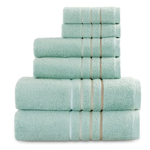 Bedsure Luxury Bath Towels Set - 6 Pcs Cotton Bamboo Towels for Bathroom, 586GSM Ultra Soft Breathable Absorbent Quick Dry 2 Bath Sheets, 2...