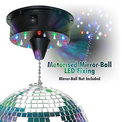 beamz Mirror Glass Disco Party DJ Prom Glitter Ball Battery Motor 18 LED Lights