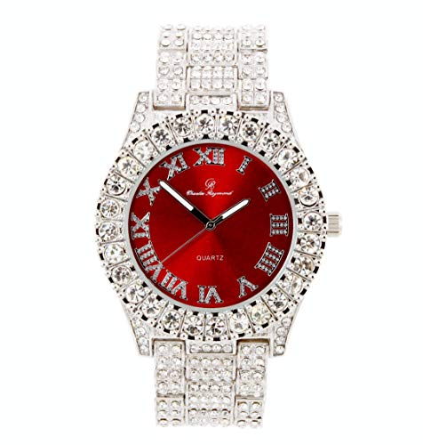 Mens Silver Big Rocks with Roman Numerals Fully Iced Out Colorful Dial Watch - ST10327 RN Single (Blood Red/Silver)