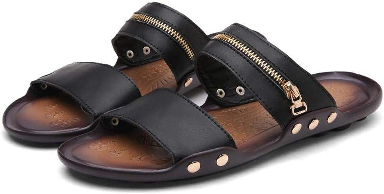 Men Sandals Summer New Trend Men Travel Beach Sandals Casual Men's Comfortable Leisure Convenient Zipper Decorative Stylish shoes Size 38