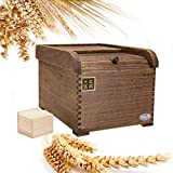 HOUSHIYU-521 10KG Wood Rice Storage Container -...
