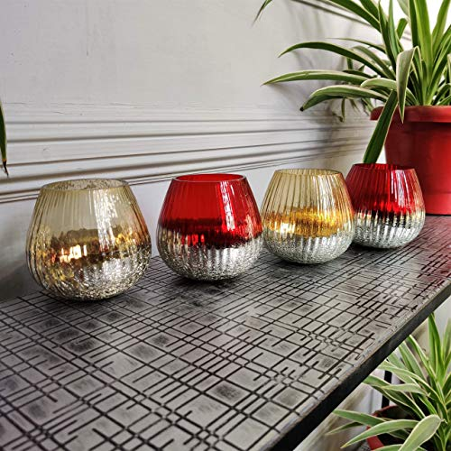 CURIO CRAFTS Red & Gold Glass Votive Candle Holders (Set of 4) - Tealight Candle Holders for Home Decor, Occasions & Table Centerpieces
