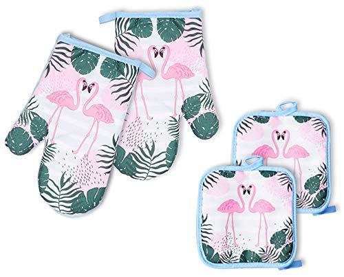 No-Branded EACHPT 4PCS Ofenhandschuhe Hitzebestaendig Baumwolle Ofenhandschuhe und Topflappen Set Flamingo rutschfeste Backhandschuhe Waschbar Küchenhandschuhe für Kochen Backen Barbecue Mikrowelle