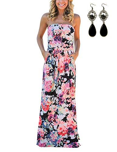 carinacoco Damen Bandeau Bustier Kleider mit Blüte Drucken Lange Sommerkleid Abendkleid Partykleid Cocktailkleid Rosa Geblümt02