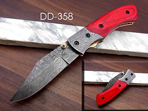Red Colored Wood Scale Folding Knife with Damascus Bolster, Hand Forged Damascus Steel Blade, Cow Hide Leather Sheath Included