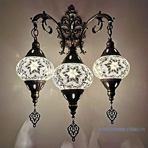 Lámparas de pared de Springhua 3 cabezas Nuevo Estilo Mediterráneo Art Deco Turco Mosaico Lámpara de Pared Mosaico Handcraft Vidrio Romántico Luz de pared (Lampshade Color : Style B)