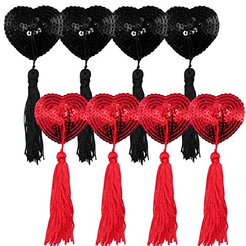 Bra with Tassel - Womens Silicone Petals Sequin Heart Pasties Adhesive Nipple Cover Reusable Bra … (Black+red B)