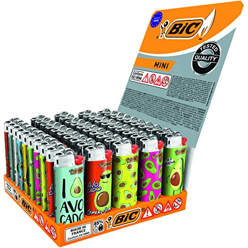Bic Mini flint Avocado lighters Tray of 50 Lighters