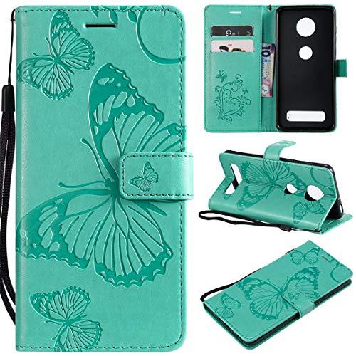 SATURCASE Motorola Moto Z4 Play Hülle, Schmetterling PU Lederhülle Magnetverschluss Brieftasche Kartenfächer Standfunktion Schutzhülle Handyhülle Tasche Hülle für Motorola Moto Z4 Play (Grün)