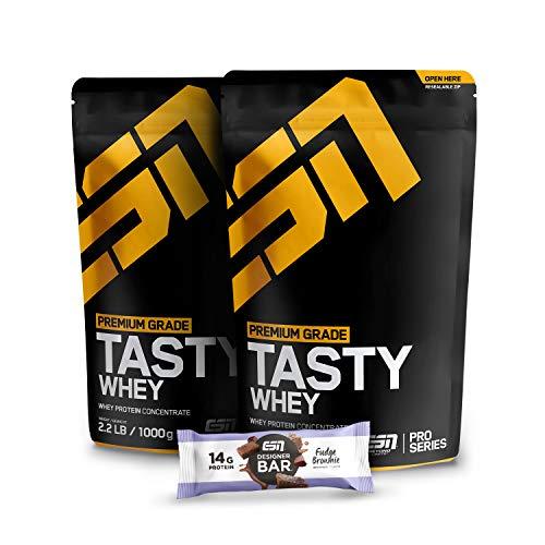 2 x 1000g ESN Tasty Whey Protein + 1 x Gratis ESN Designer Bar Proteinriegel – 2 x Vanilla – Molkenproteinkonzentrat reich an EAAs und BCAAs – 66 Portionen – Made in Germany
