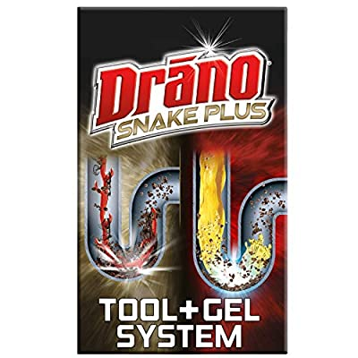 Drano Gel Drain Clog Remover and Cleaner 16oz and Snake Plus Tool 16 inches, Unclogs tough blockages, Commercial Line