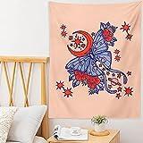 Manta de tapiz de flor de mariposa psicodélico estrella y luna...