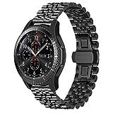 Juntan Rilascio Rapido Cinturino Orologio Compatibile for Galaxy Watch 46mm, Galaxy Watch 3 45mm Gear S3 Frontier Classic Cinturini per Orologi 22mm Acciaio Inossidabile Nero