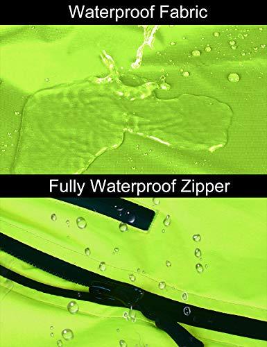BALEAF Men's Cycling Running Jacket Waterproof Reflective Lightweight Windbreaker Windproof Bike Jacket Hooded Packable Fluorescent Yellow Size L