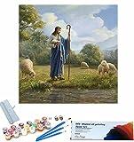 Beaxqb Pintura por Números, Cultura Religiosa Pintura al óleo Kit con Pinceles y Pinturas, Pared LienzoArte decoración del hogar 40x40cmSin Marco