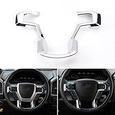JeCar Steering Wheel Trim Bezel Cover Trim Frame Decorative Interior Accessories for Ford F150 F250 F350 2015 2016 2017 Super Duty (Chrome)