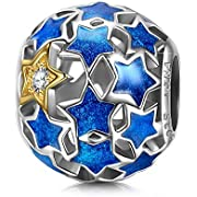 NINAQUEEN Starry Night 925 Sterling Silver Blue Enamel Charms Beads ♥Well for Necklaces♥, Gifts for Mom with a Exquisite Package