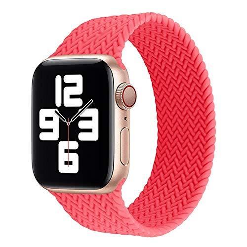 LWHAMA Lwwhama Solo Trenzada Bucle De La Correa For Apple Venda De Reloj De 44 Mm 40 Mm 38 Mm 42 Mm Elástico De Silicona Pulsera ForiWatch Serie 6 5 4 3 SE (Band Color : Pink, Size : M(38mm-40mm))