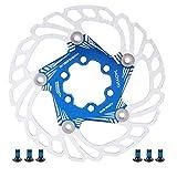 Disco Freno per Bicicletta da Mountain Bike Rotori di Raffreddamento Flottanti 5 Perni 140 Mm Accessorio per Ciclismo ( Blu )