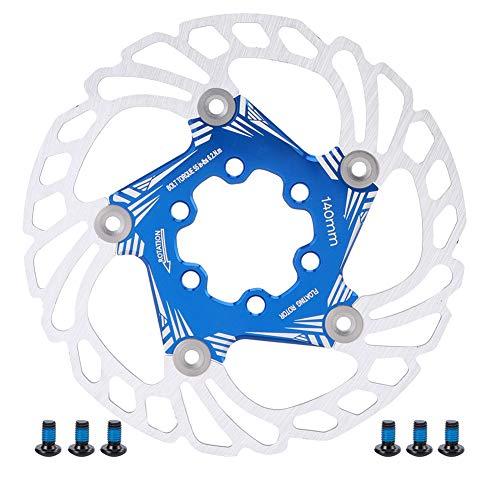 VGEBY Disco de Freno Flotante de Bicicleta, 140 mm de Acero Inoxidable Duradero Rotor de Freno de Disco Flotante de Bicicleta Seis Tornillos Pastilla de Freno de Bicicleta de montaña(Azul)