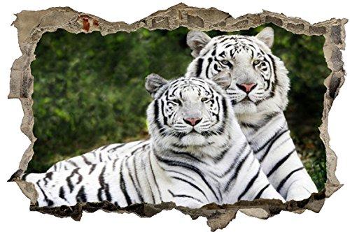 DesFoli Weißer Tiger Wandloch 3D-Optik Wandtattoo 70 x 105 cm Wandbild Sticker Aufkleber D023