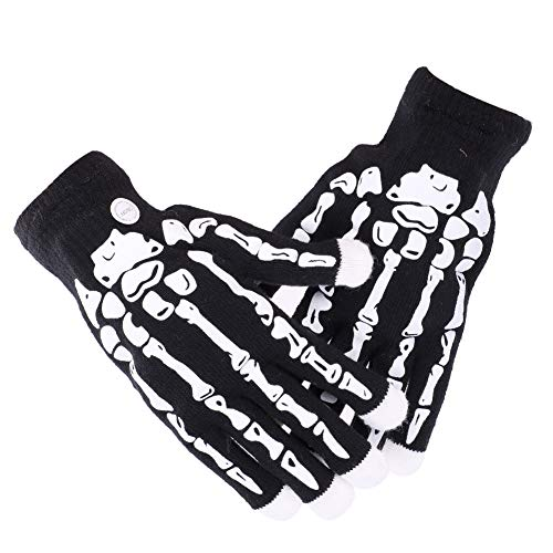 Halloween Handschuhe Skelett Fingerhandschuhe LED Beleuchtung Vollfinger Handschuhe Hexe Erwachsene Kreative Fahrradhandschuhe Teufel Kostüm Zubehör Cosplay Maskerade Karneval Kostüm Prop