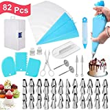 Konren 82 Pack Cake Decorating Supplies Kits Russian Piping Tips, Stainless Steel Baking Frosting Set with Storage Case Ruffle Piping Flower Nozzles Skirt Icing Cupcake Bakes Tools Decorating