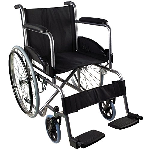Mobiclinic, Faltrollstuhl, Alcazaba, Europäische Marke, orthopädisch, Rollstuhl für Ältere und behinderte Menschen, selbstfahren, ergonomischer Sitz und Rückenlehne, Schwarz, Sitzbreite 46 cm