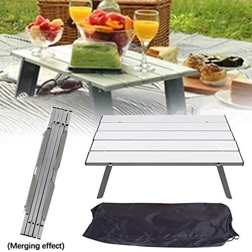 Dongbin Computertisch Picknicktisch Folding, Tragbarer Tisch Gartenmöbel Folding Camping Wandern Büro Picknick Im Außen Reisen,Metallisch