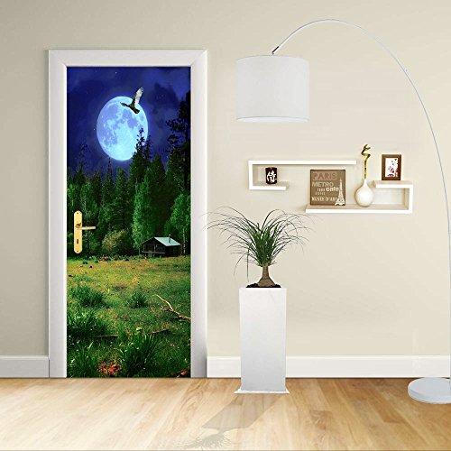 Autocollant de porte - Design- Paysage de nuit - Décoration adhésive pour portes meubles maison-Print pour porte dimensions personnalisables-impression sur PVC (CM 70X210)