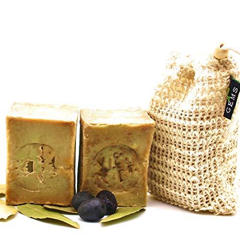 Original Aleppo Seife Set, 80% Olivenöl 20% Lorbeeröl, 2 x ca.110g + Sisal Seifensäckchen, Handmade, Vegan, Naturprodukt, Haarseife, Duschseife, Original Rezeptur