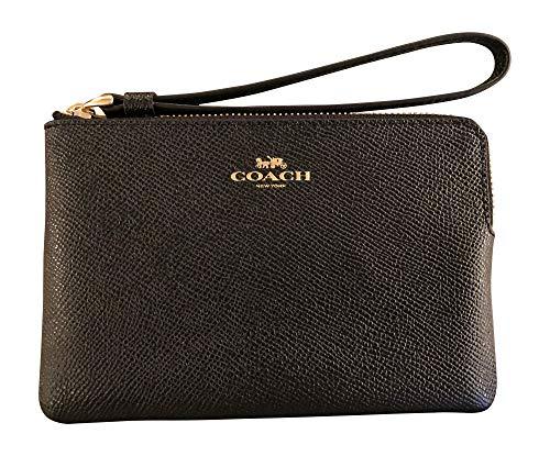 Coach Crossgrain Leather Corner Zip Wristlet, Black