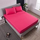XGguo Protector de colchón Transpirable.Rizo Bambú. Hoja de Cama Impermeable Diafragma Mojar la Cama Paquete Completo-Rose Red_120X200 + 30CM