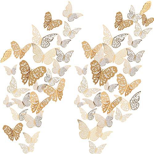 72 Stücke 3D Schmetterling Wandtattoos Aufkleber Wandtattoo Dekor Kunst Dekorationen Aufkleber Set 3 Größen for Zimmer Startseite Kindergarten Klassenzimmer Büros Kinder Mädchen Jungen Schlafzimmer Ba