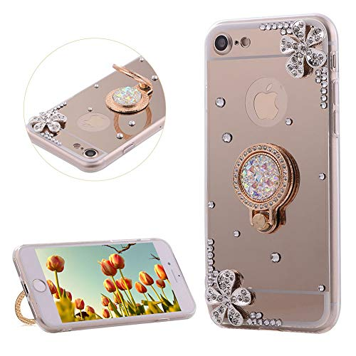 DasKAn Rhinestone Mirror Case for iPhone 7 Plus/8 Plus with Metal Finger Holder Ring Stand,Crystal 3D Diamond Design Ultra Slim Soft Silicone Back Cover Flexible TPU Protective Phone Case,Gold#1