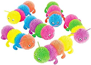 Rhode Island Novelty 6 Inch 4 Ball Caterpillar Puffer Toy Set of 6