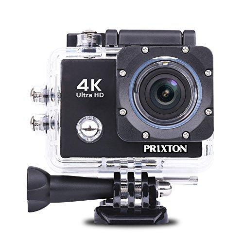 PRIXTON DV660 - Telecamera Sportiva 4K con Custodia Subacquea, Accessori, WiFi e 2 custodie sostituibili a Colori