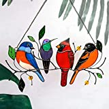 Settoo 10Set Stained Glass Window Hangings, 4 Birds in Stained Glass Window Panel,Art Bird Ornaments Hanging Suncacthers for Windows Doors Home Decoration