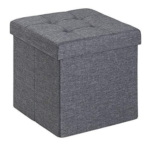 D&D Quality Puff Almacenaje Plegable, Asiento Acolchado, 38 x 38 x 38 cm - Exterior Tapizado Estilo Lino - Caja Almacenamiento Cuadrada (Gris Oscuro)