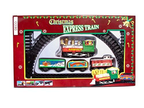 Deko Weihnachtszug 9-teilig - Mini Zug zu Weihnachten Eisenbahn mit Lokomotive, 3 Waggons und 5 Schienen - Gesamtgröße ca. 59x27 cm