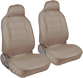 Motor Trend PU Syn Leather Car SUV Van Seat Covers - Hight Back Integrated Seat, Smooth Surface Leather (Beige)