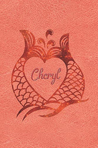 Personalized Daily Journal Diary - Mermaid Tails - Cheryl: Orange Jewels Mermaid Tail Design with Name in a Heart Journal For Women To Write Daily Events or Private Thoughts