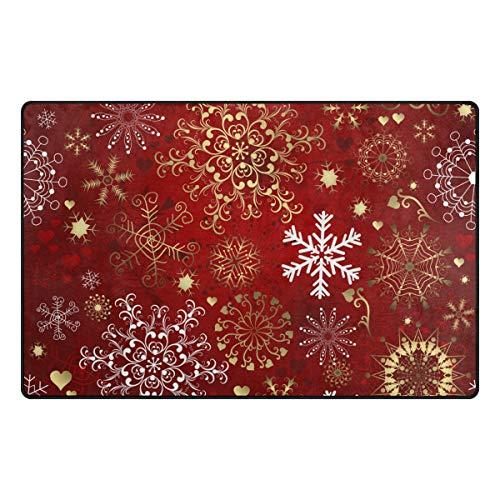 Baofu Alfombra de Navidad con copos de nieve, colorida y grande, antideslizante, para niños, invierno, copos de nieve, Navidad,...