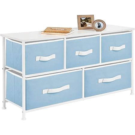 mDesign commode à 5 tiroirs – meuble à tiroirs large pour la chambre à coucher, le salon ou le couloir – rangement vêtements en métal, MDF et tissu – bleu clair/blanc