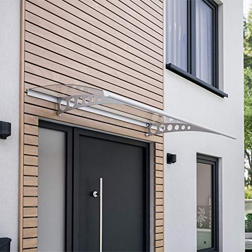 Schulte Pultvordach Style Plus, 160 x 90 cm, 3 mm Polycarbonat Platte Klar, Wandhalterung Edelstahl V2a, Vordach Haustür Überdachung, EP1116-20-21