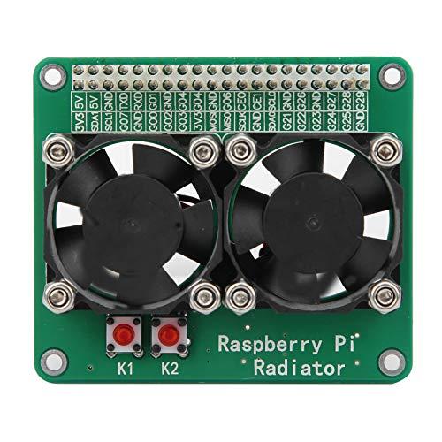 Tomanbery Enfriador Raspberry Pi 3A / 3B / 4B, módulo de radiador de Ventilador de refrigeración Doble, Placa de extensión de disipador de Calor de refrigeración Negra estándar para refrigeración