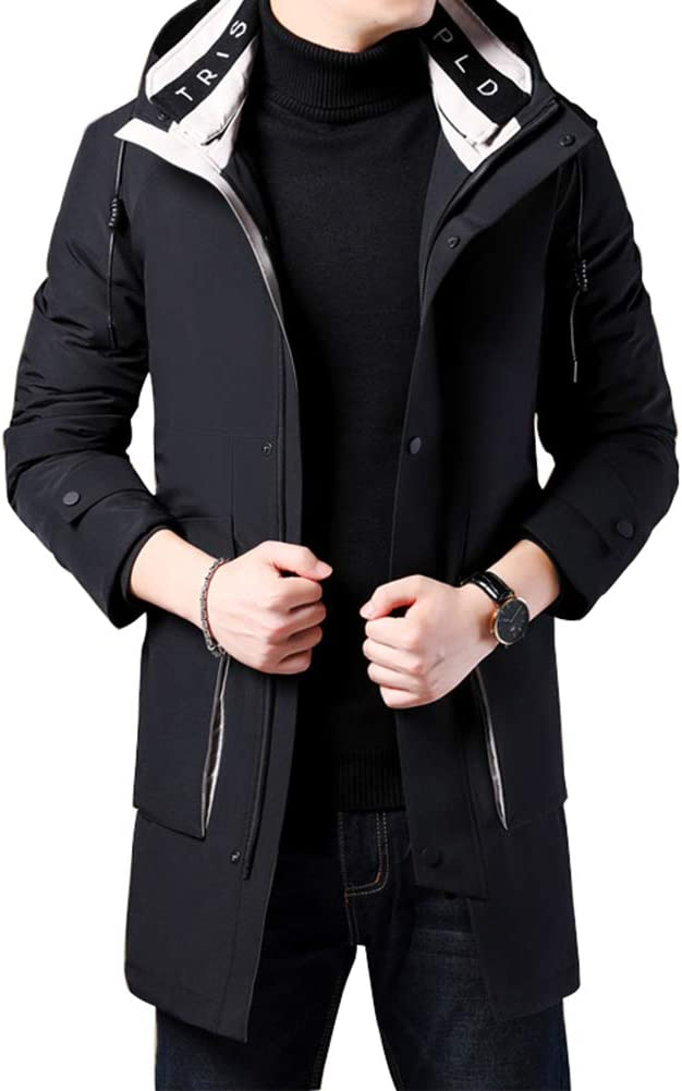 Down jacket Middle-Aged Men's Medium Long, Hooded Thicken Winter Jacket, Casual Winter Clothing, 90% White Duck Down (Khaki, Black)
